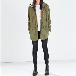 Zara Woman Utility Parka Removable Sherpa lining